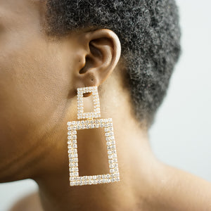 Load image into Gallery viewer, LEXXI Rectangle rhinestone earrings