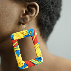 ABENA rectangle ankara drop earrings