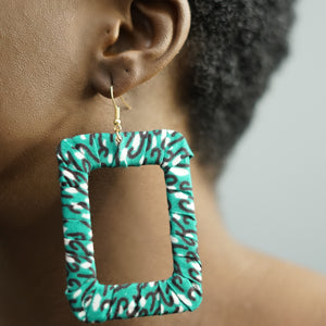 ADJOA rectangle ankara drop earrings