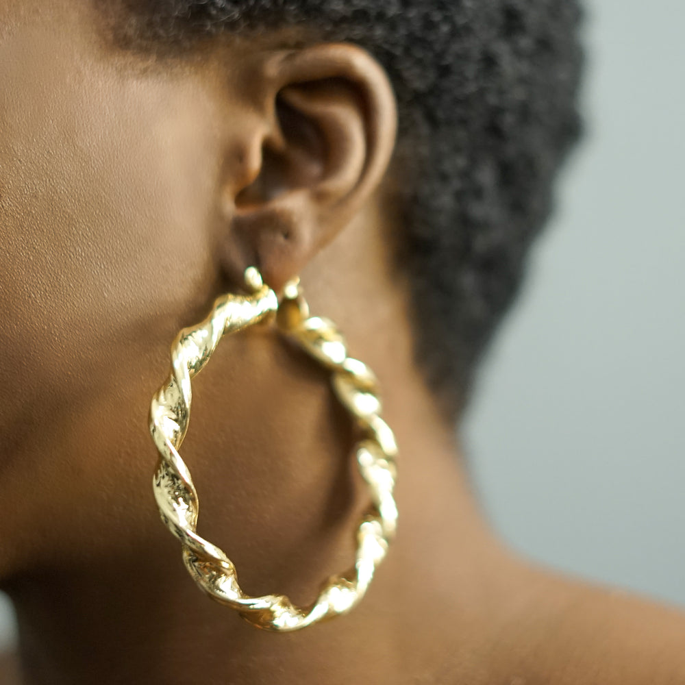 AASHA textured twist hoops