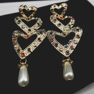 VALERIE heart-shaped vintage drop earrings