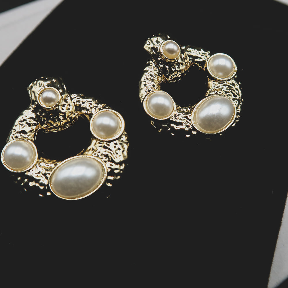 DENISE Vintage & Pearl Stud Earrings