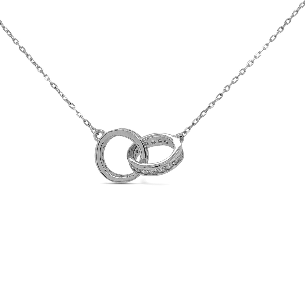 Silver Entwined Rings Necklace