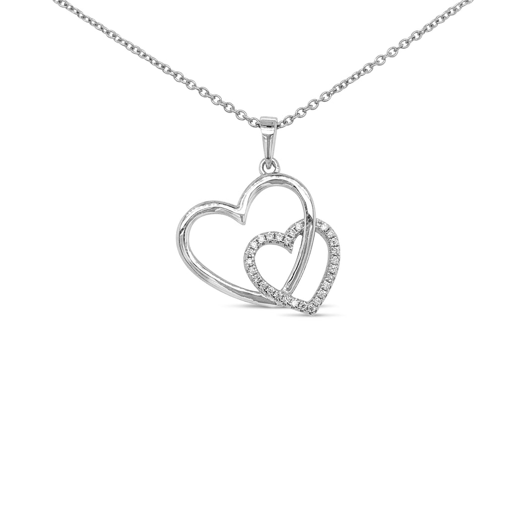 Silver Entwined Hearts Pendant