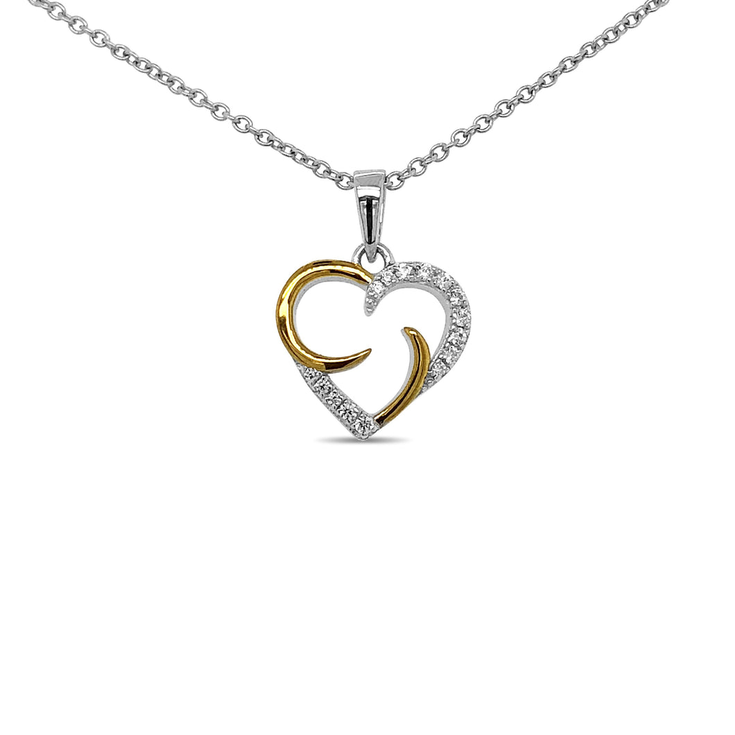 Bi-Colour Silver Heart Necklace