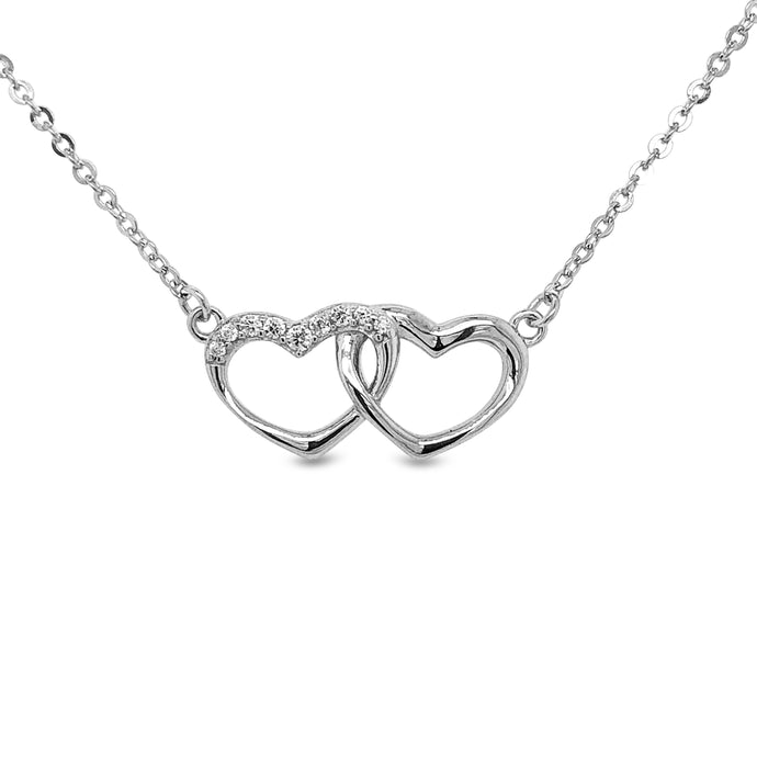Silver Entwined Hearts Necklace