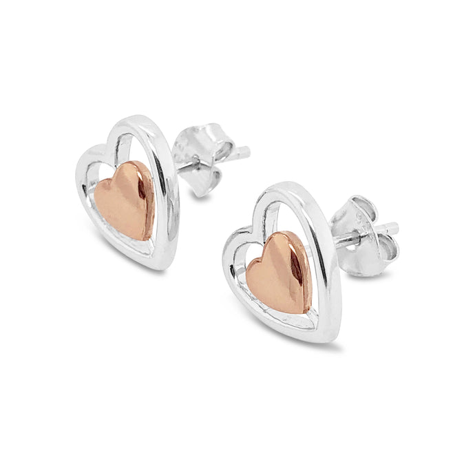 Silver Bi-Colour Heart Earrings