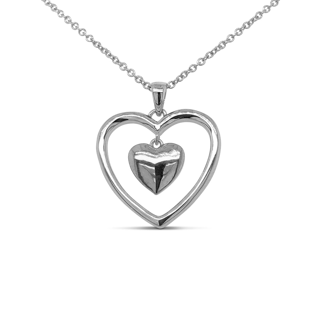 Silver Bi-Colour Heart Necklace