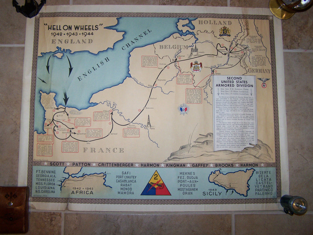 SOLD Hell On Wheels Nd Armored Division US Presentation Map With - Us armor unit map