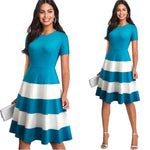 Vintage Stripe Brief Wave  A-line Dress