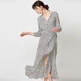 High Split Sexy V Neck Women Vintage Dress