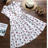 Peter Pan Collar Cherry Pattern Cute Preppy Style Dress
