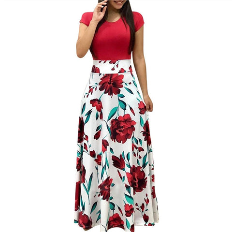 Vintage Floral Print Patchwork Long Dress