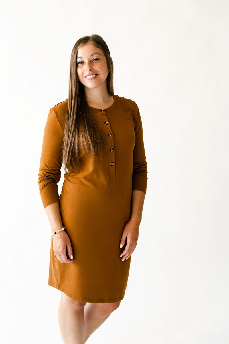 Robe LUCIA à boutons - caramel