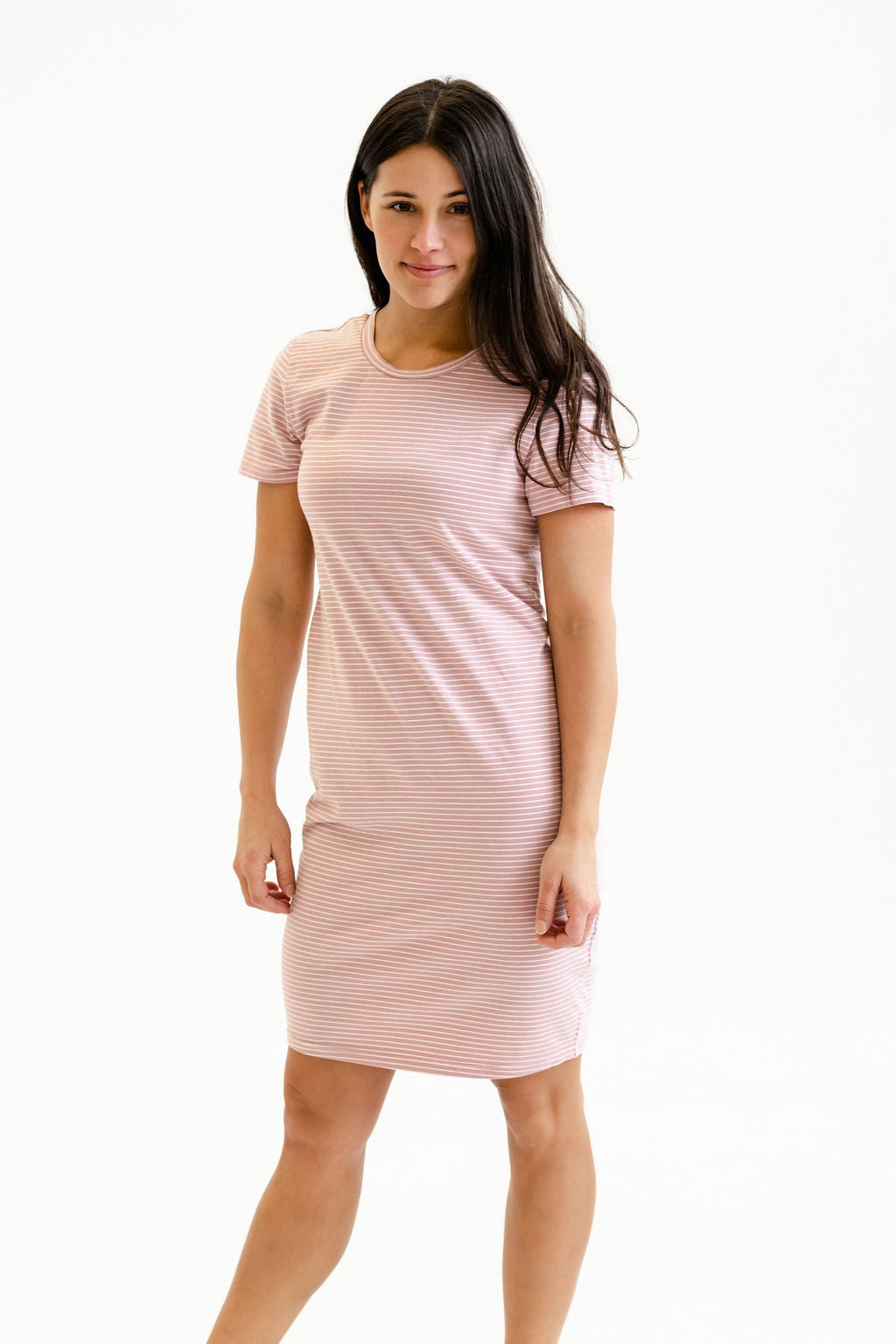 Robe INTRIGUE - mini rayures rose & blanc