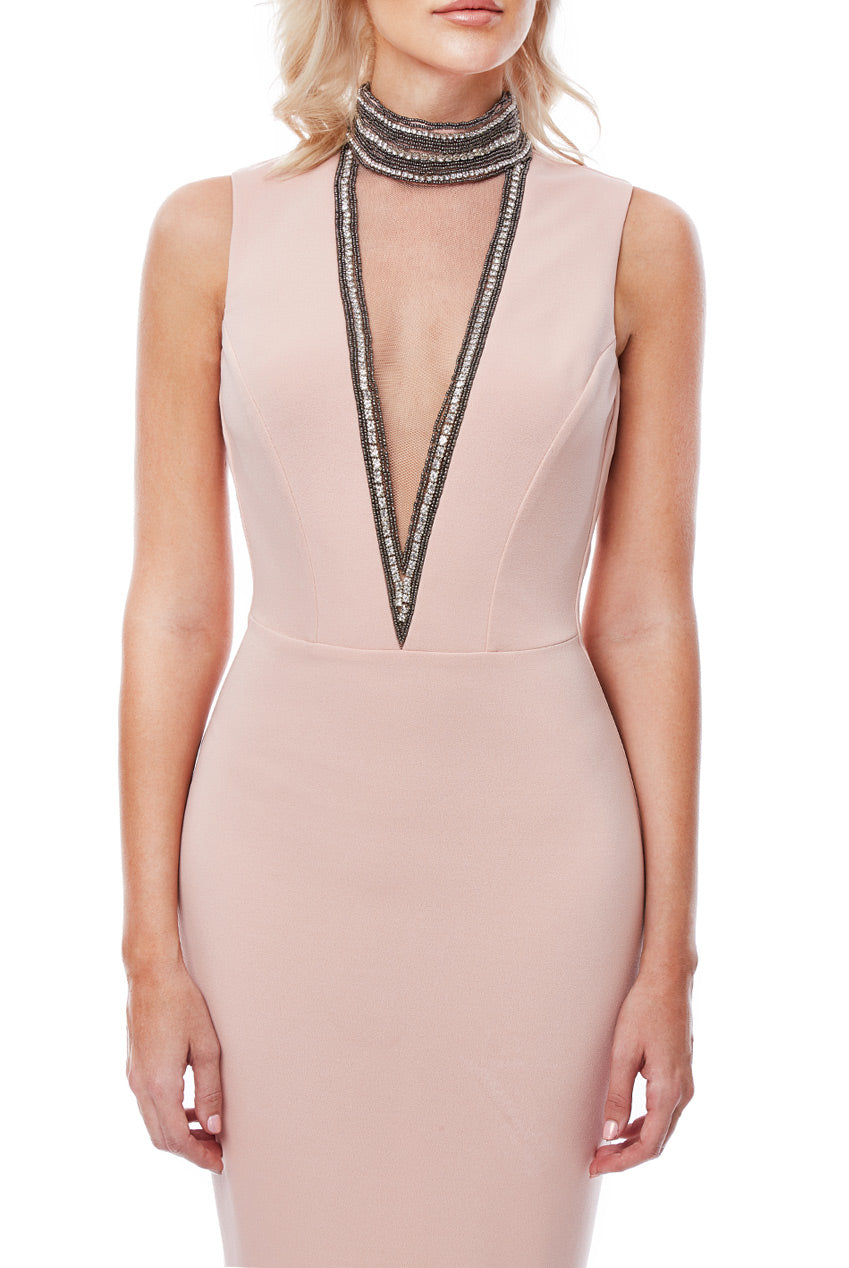 High Neck Cut Out Embellished Midi Dress by Stephanie Pratt - Nude