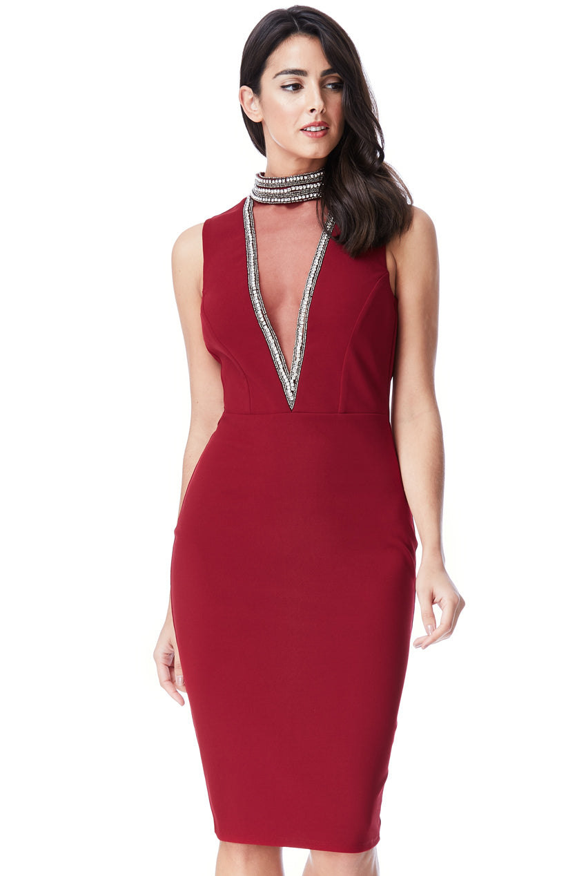 High Neck Cut Out Embellished Midi Dress by Stephanie Pratt - Wine