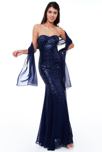 Navy Sequin Bandeau Chiffon Maxi Dress