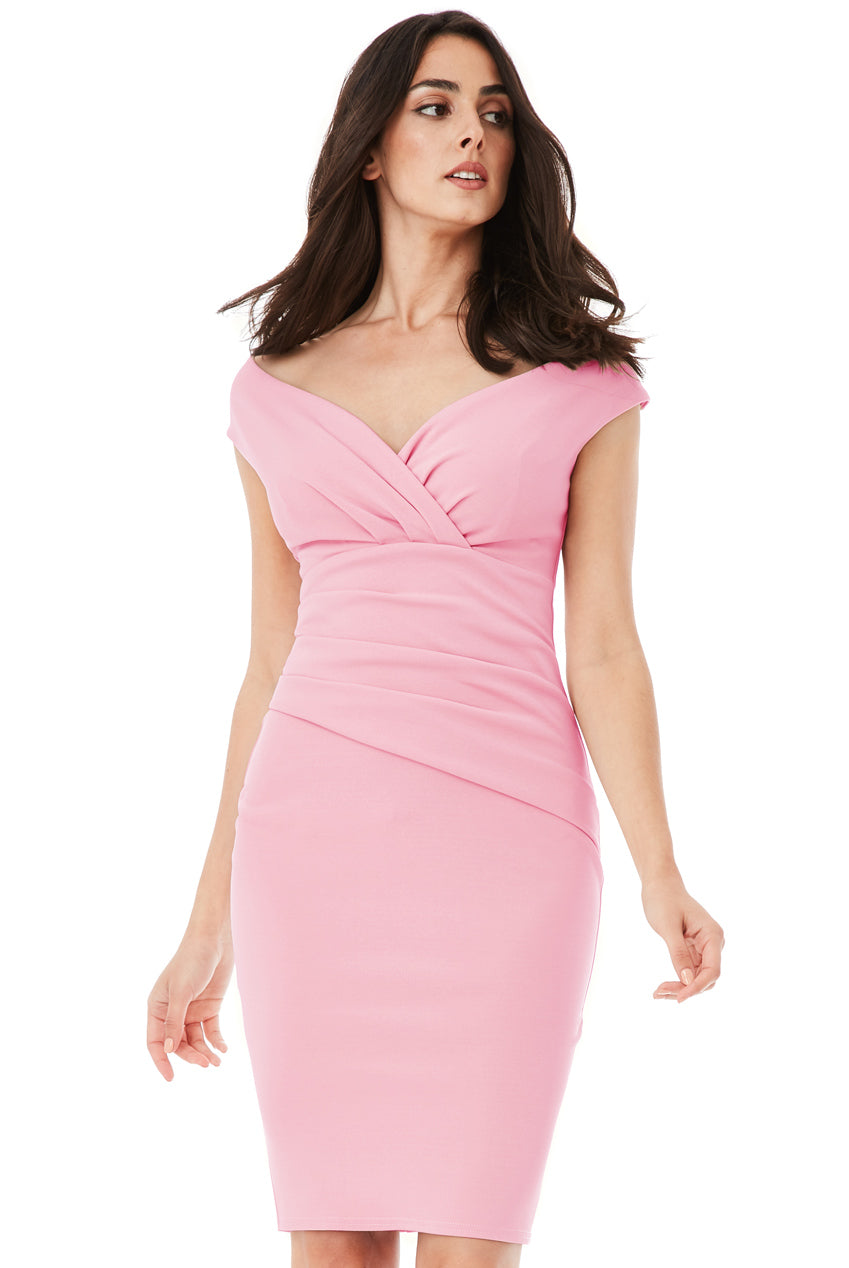 Bardot Pleated Midi Dress - Pink