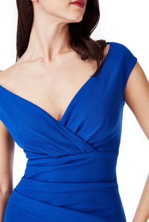 Bardot Pleated Midi Dress - Royal Blue