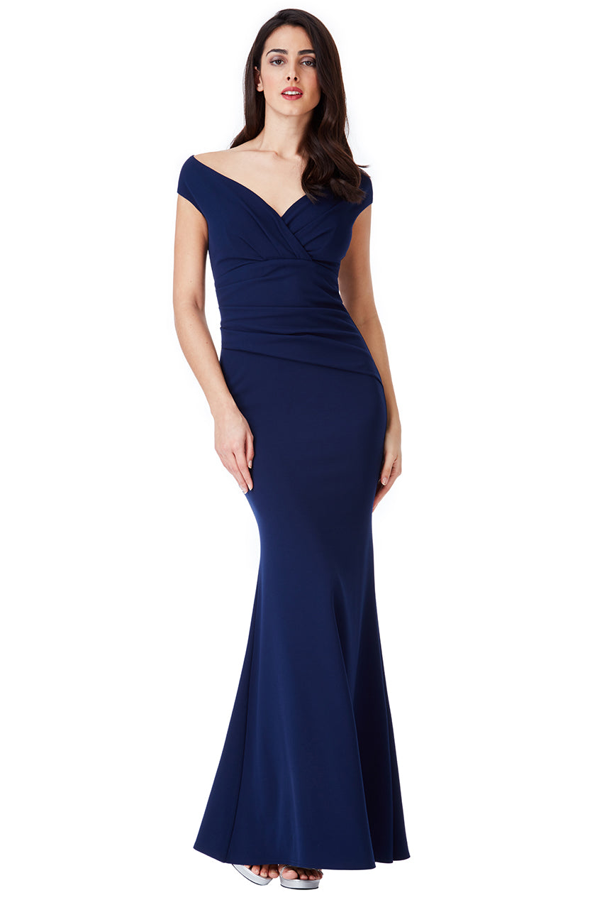 Navy V Neck Wrap Maxi Dress