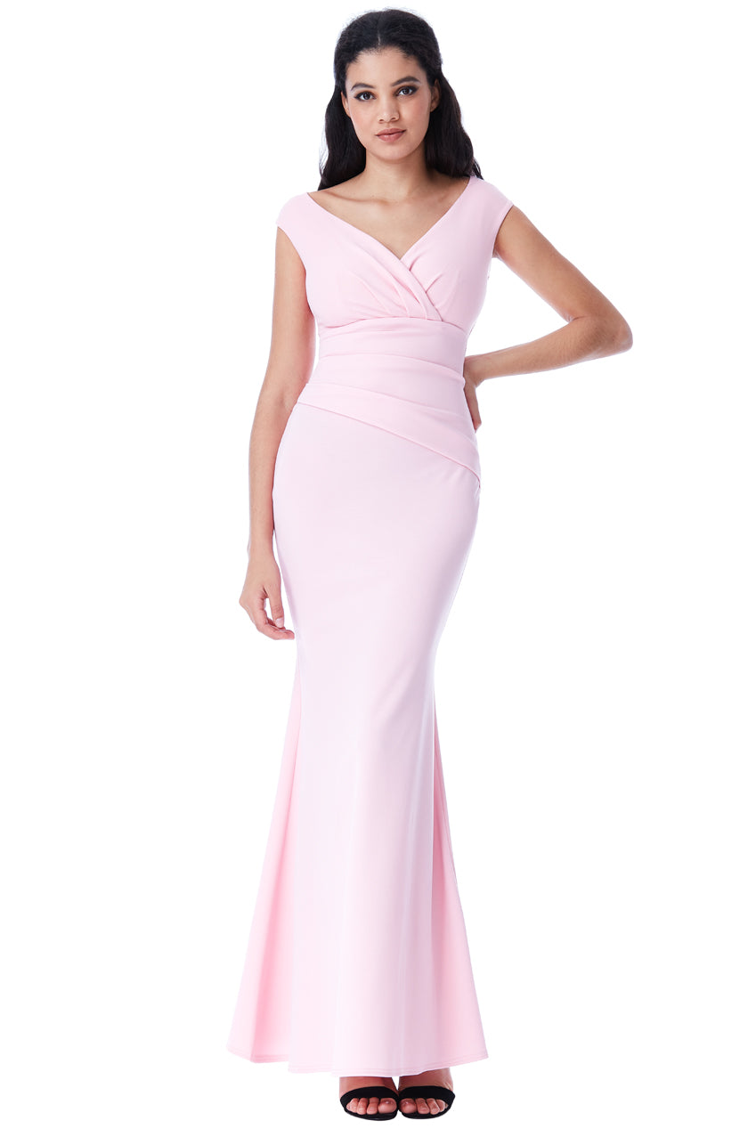 Pink V Neck Wrap Maxi Dress