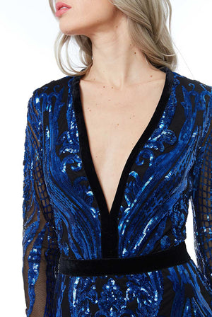 Royal Blue Sequin Embellished Fishtail Maxi Dress