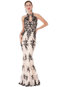 Nude Black Sequin Embroidered Halterneck Maxi Dress