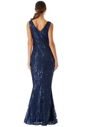 Navy Sequin Sleeveless Maxi Dress