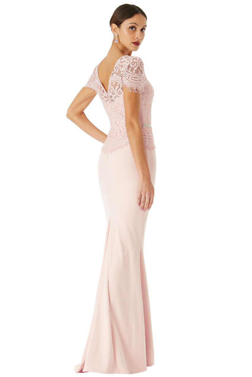 Blush Lace Embellished Fishtail Maxi Dress