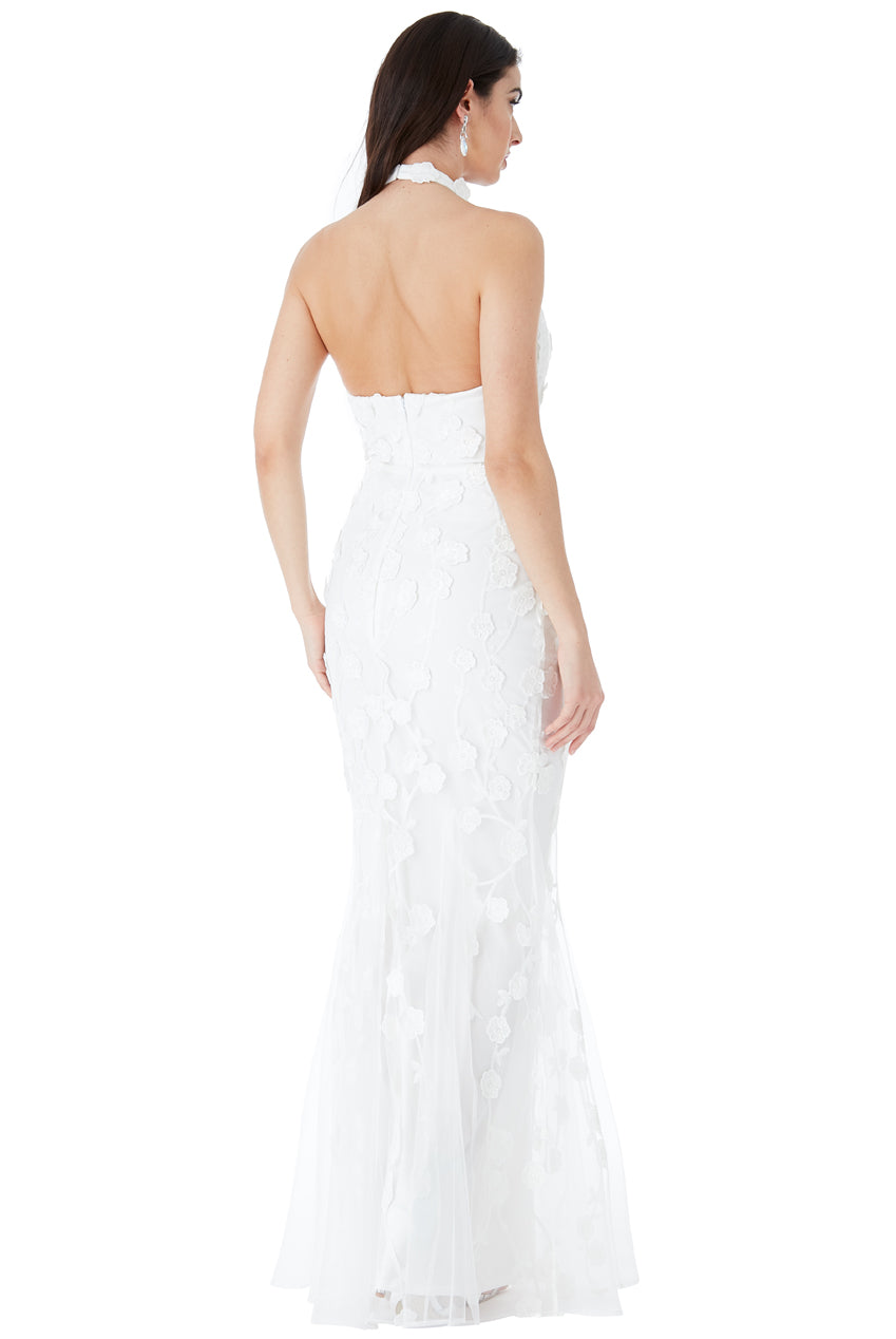 HALTER NECK TULLE EMBROIDERED WEDDING MAXI DRESS