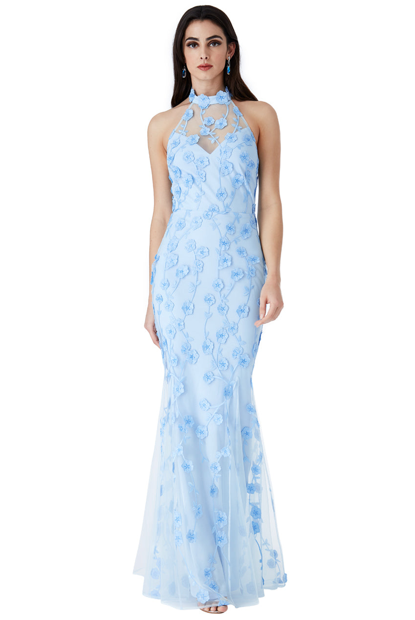 Halter Neck Tulle Embroidered Maxi Dress - Powder Blue