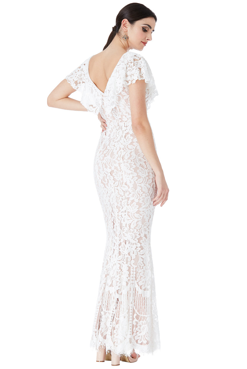 LACE WEDDING MAXI DRESS WITH FRILLED V NECKLINE