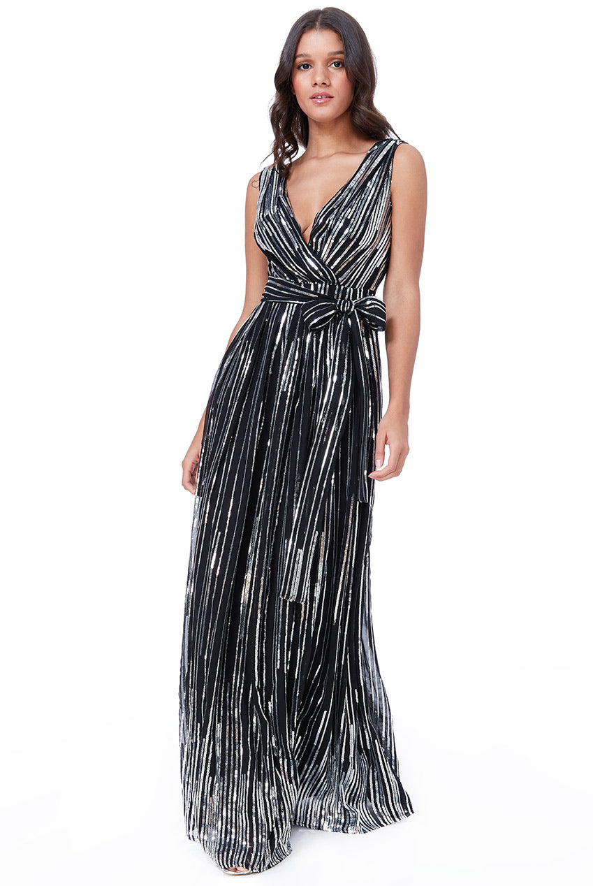 Black Silver Woven Sequin Flare Skirt Maxi Dress