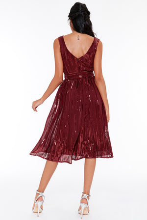 Wine Woven Sequin Flare Skirt Midi Dress