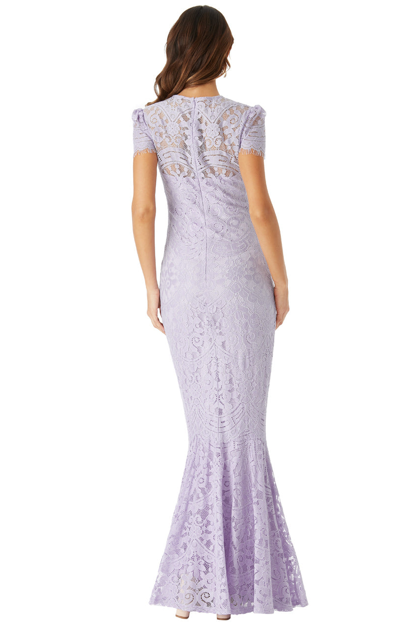 Lavender Cap Sleeves Lace Maxi Dress