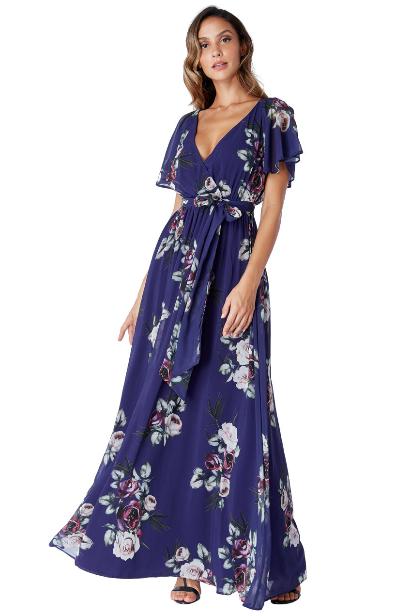 Silky Chiffon Deep V Neck Butterfly Sleeve Maxi Dress - Purple
