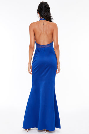 Royal Blue Embroidered Halter Neck Maxi Dress