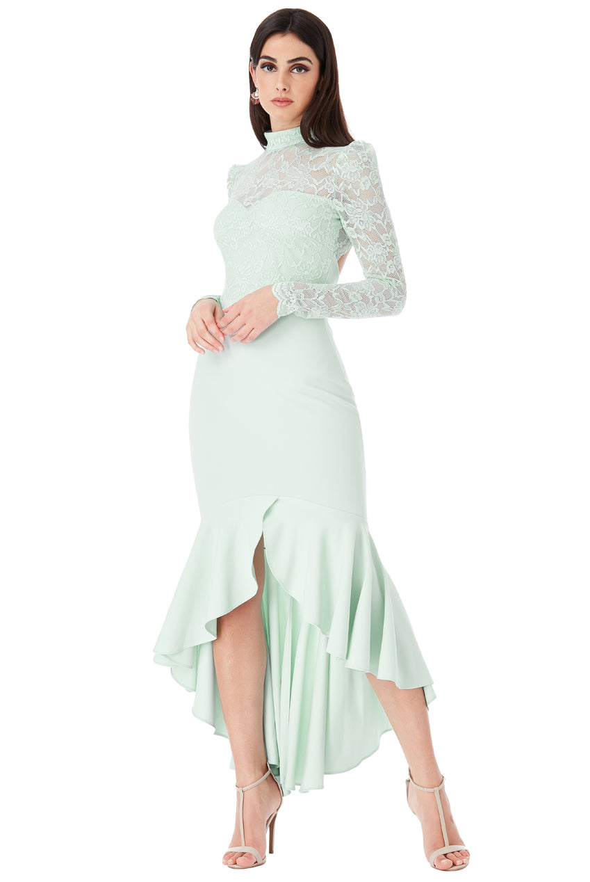 Mint Long Sleeved Fishtail Maxi Dress with Open Back