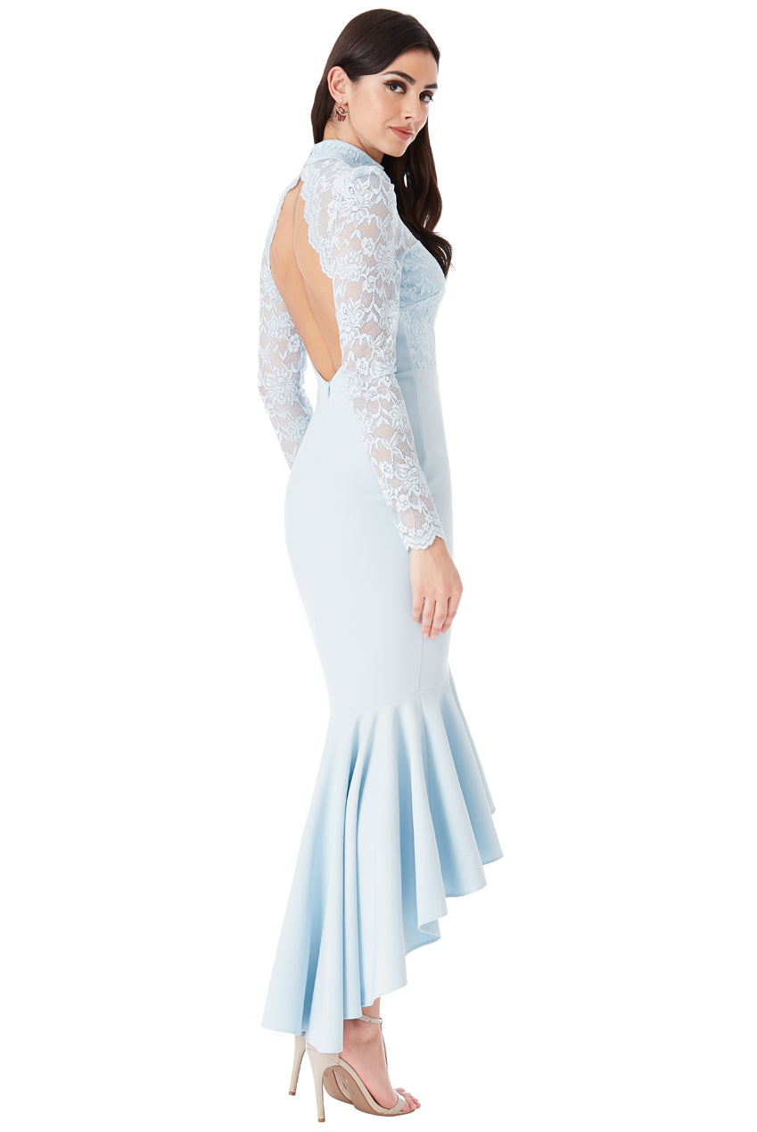 Powder Blue Long Sleeved Fishtail Maxi Dress with Open Back