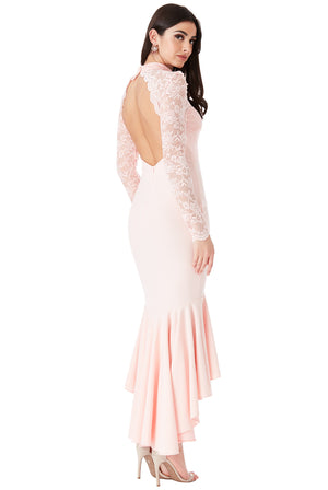 Rose Long Sleeved Fishtail Maxi Dress with Open Back