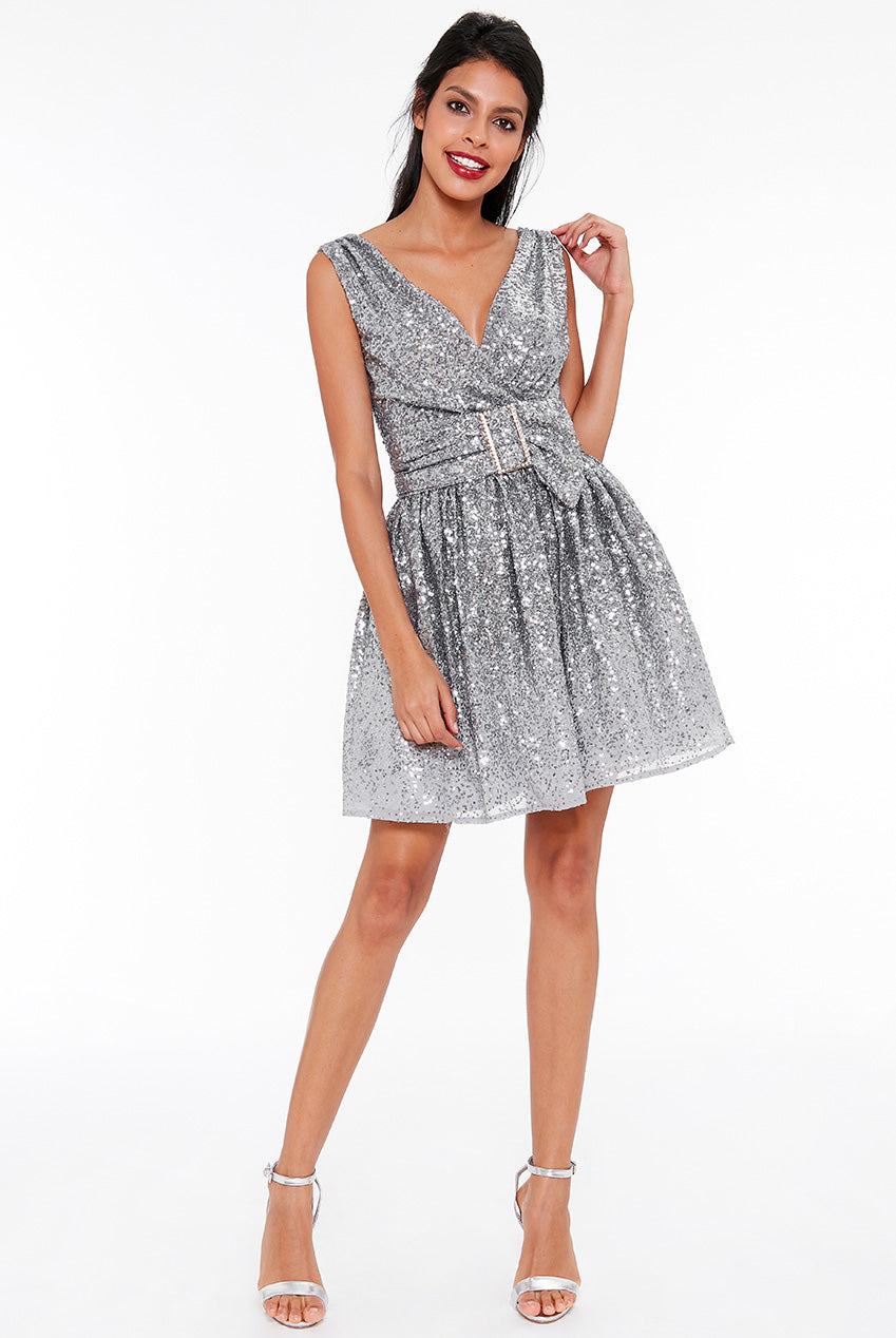 Silver Sequin and Chiffon Belted Skater Dress