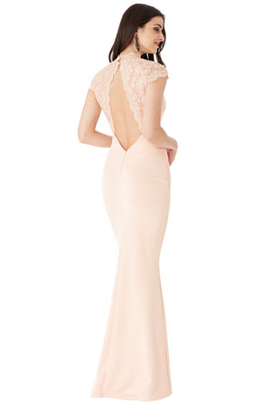 Nude Open Back Lace Maxi Dress