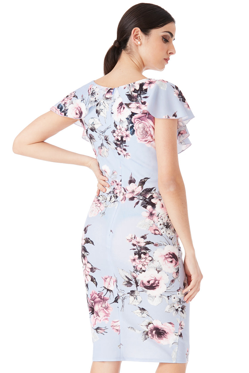 FLORAL PRINT MIDI DRESS WITH FRILLED V NECKLINE - Powder Blue
