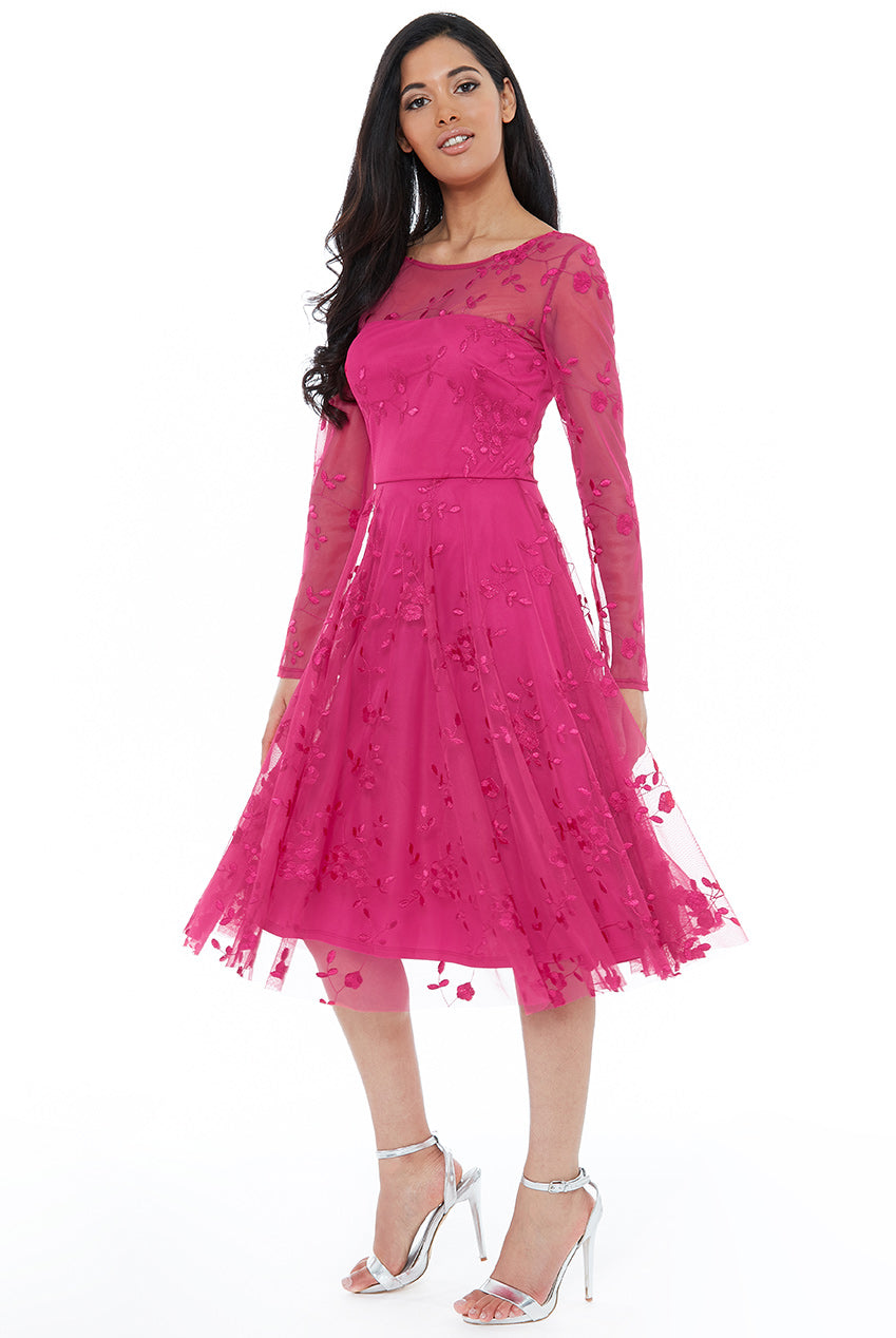 Hot Pink Mesh Embroidered Midi Dress