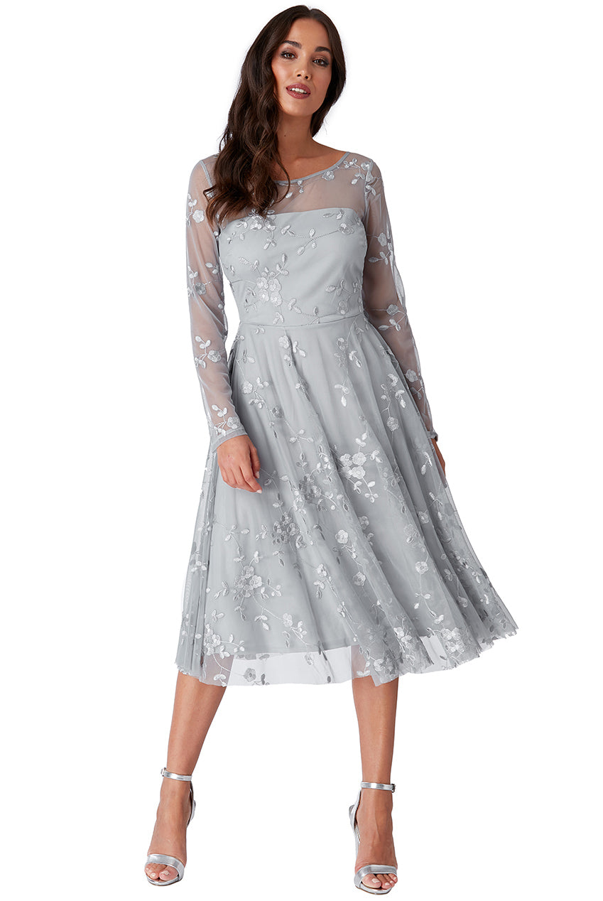 Grey Mesh Embroidered Midi Dress