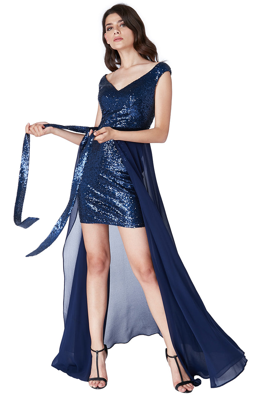 2 in 1 Sequin and Chiffon Dress - Navy