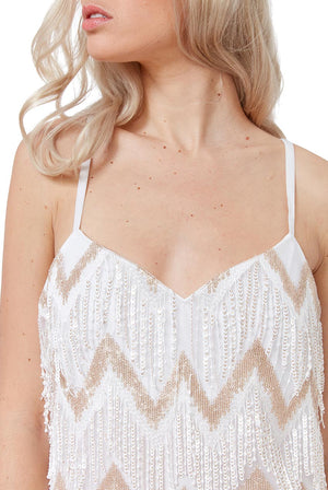 White Sequin Fringe Mini Dress