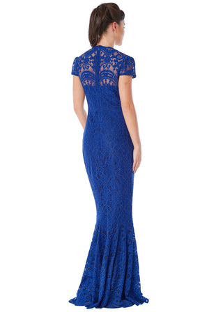 Royal Blue Cap Sleeve Lace Maxi Dress