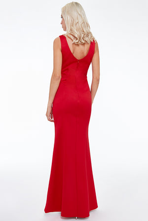 Stone Work Evening Maxi Dress - Red